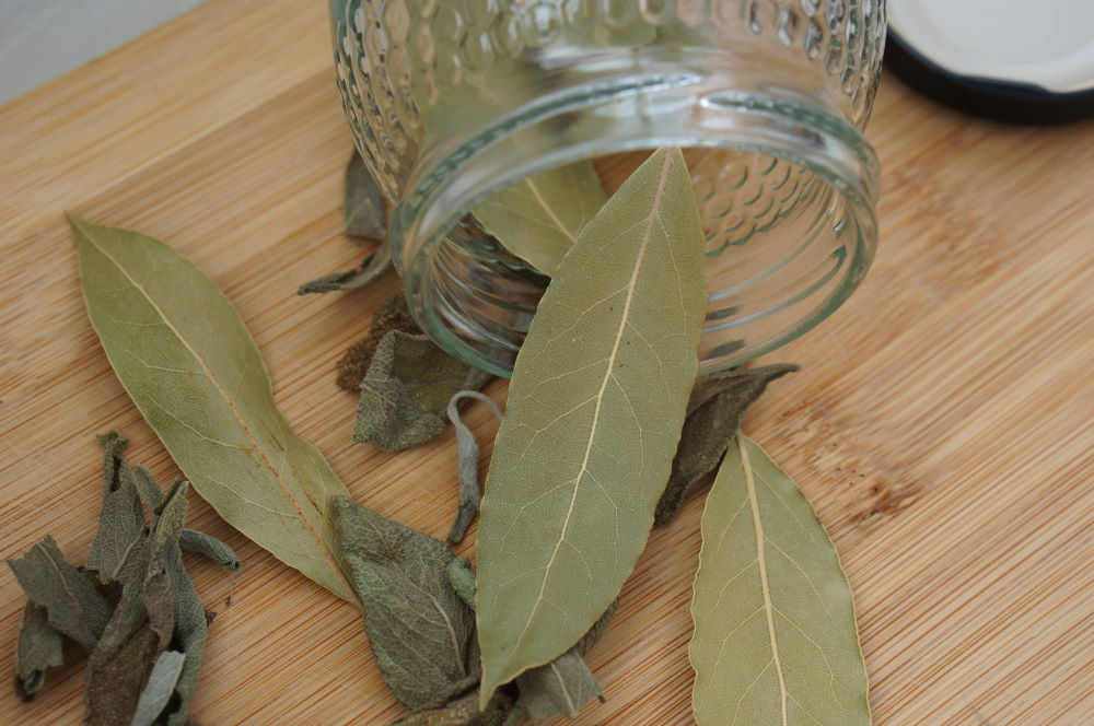 dried bay and sage leaves