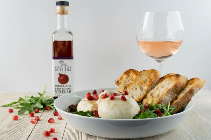 Burrata Salad with Pomegranate Vinaigrette for Two