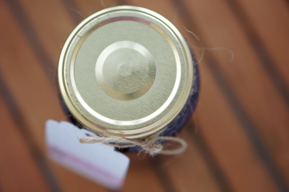jar with label, top view