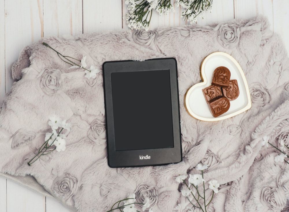 kindle in background with plate with cookies