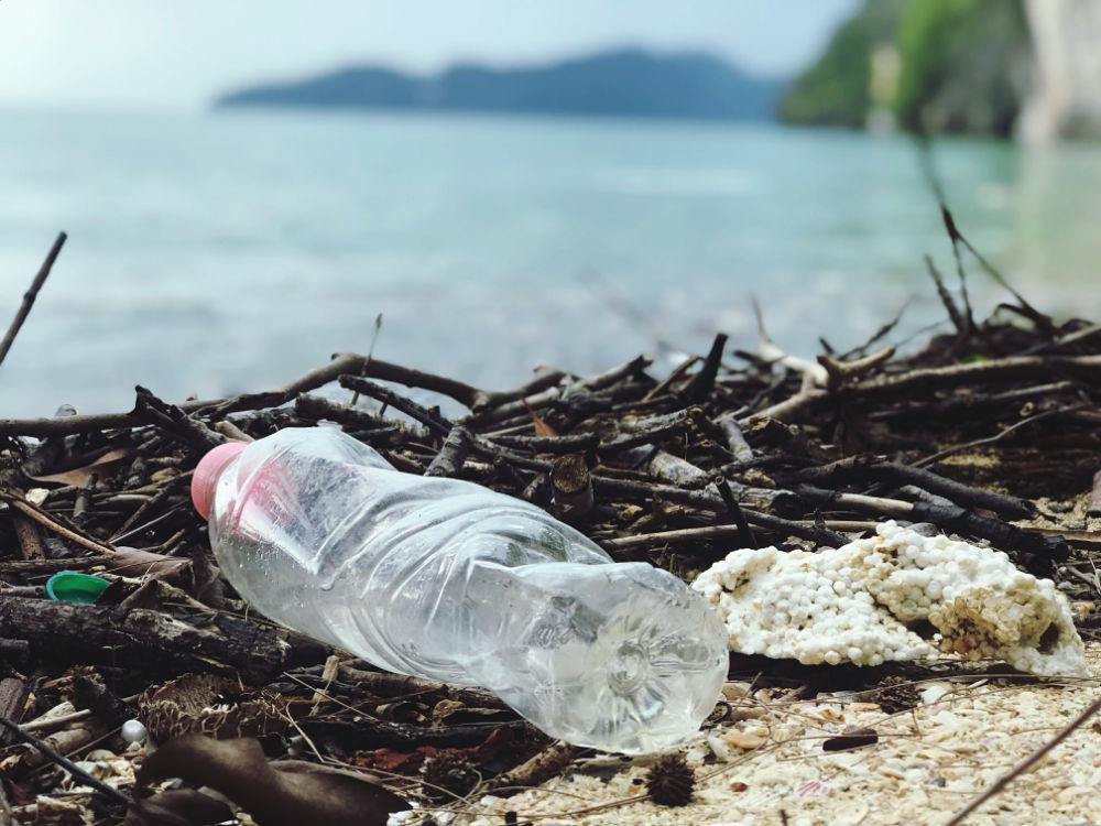 plastic bottle in beach